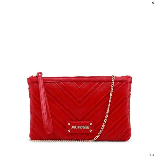9748a6f2973 Love Moschino Red Faux Leather Clutch - Tradesy