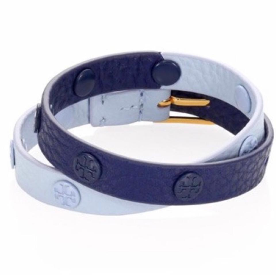 899b1100a2c3d Tory Burch Navy Blue Light Blue Leather Double-wrap Bracelet - Tradesy