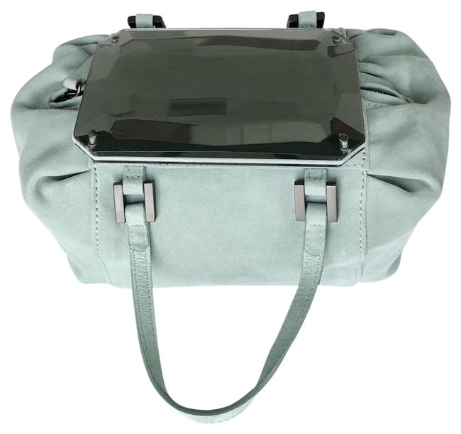 Item - Duffle Handbag with Mirrored Jewel Top Mint Suede Tote