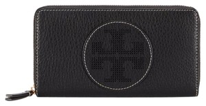 Tory Burch Black Perforated Logo Zip Continental Wallet