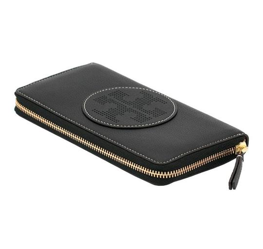 Tory Burch Black Perforated Logo Zip Continental Wallet Image 1