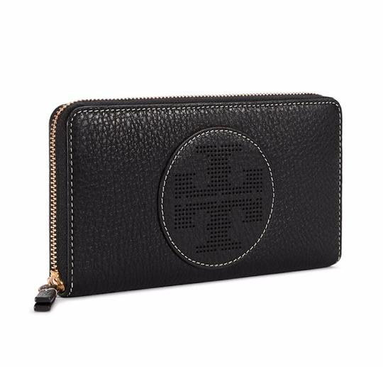 Tory Burch Black Perforated Logo Zip Continental Wallet Image 3