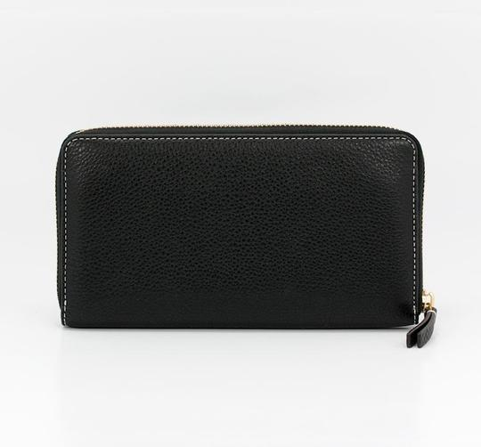 Tory Burch Black Perforated Logo Zip Continental Wallet Image 4