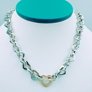 Tiffany & Co. 2000 18K Gold & Sterling Heart link necklace