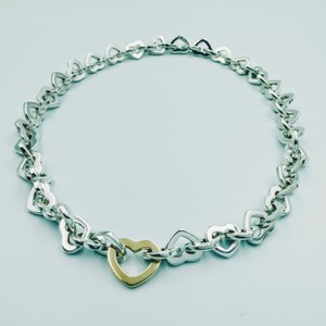 Tiffany & Co. 2000 18K Gold & Sterling silver heart link necklace