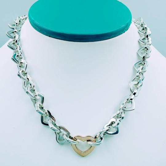 Tiffany & Co. 2000 18K Gold & Sterling silver heart link necklace Image 1