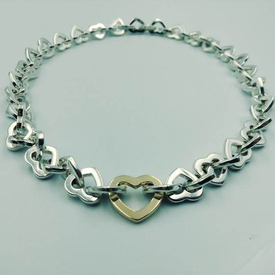 Tiffany & Co. 2000 18K Gold & Sterling silver heart link necklace Image 3