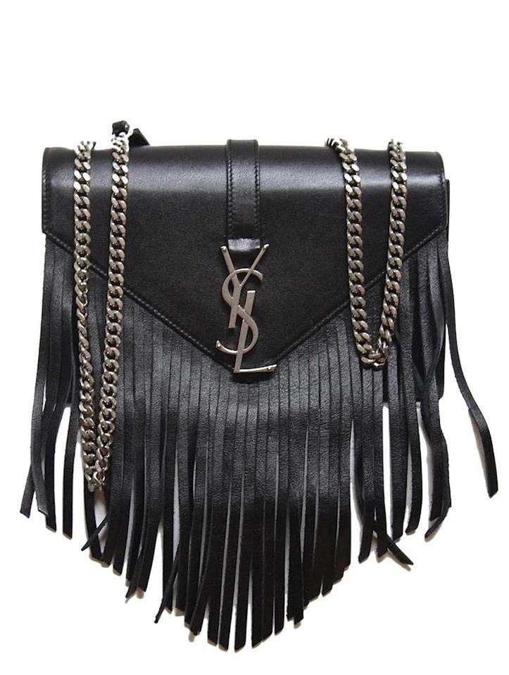 29b702399173 Saint Laurent New Monogramme Fringe Black Leather Cross Body Bag ...