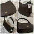 Coach Monogram Leather Zip Top Round Slouchy Shoulder Bag Image 2