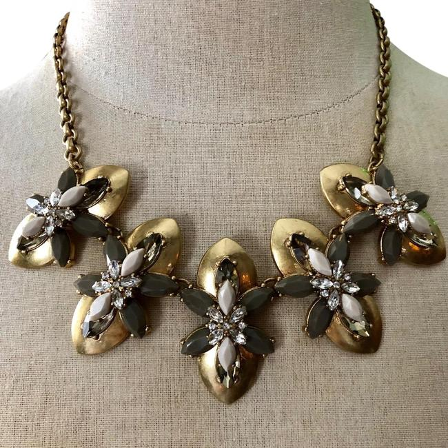 Item - Gold Gray Rhinestone Nwot and Blush Bib Statement Necklace
