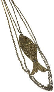 Vintage Vintage double chain fish pendant necklace