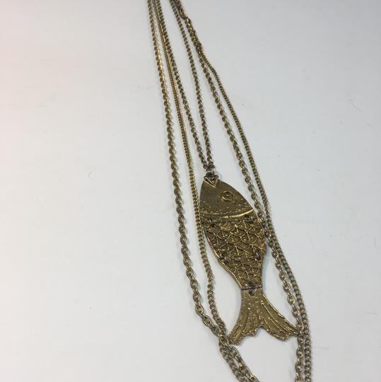 Vintage Vintage double chain fish pendant necklace Image 1