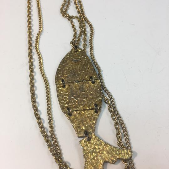 Vintage Vintage double chain fish pendant necklace Image 5