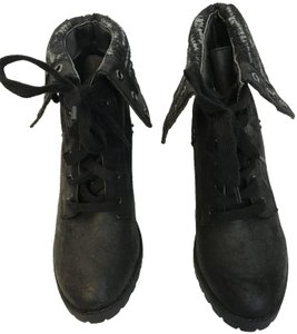 Just Fab Lace Up Rubber Fold Over Black Boots