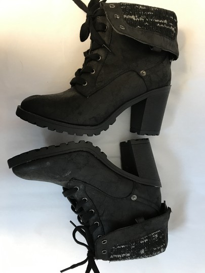 Just Fab Lace Up Rubber Fold Over Black Boots Image 5