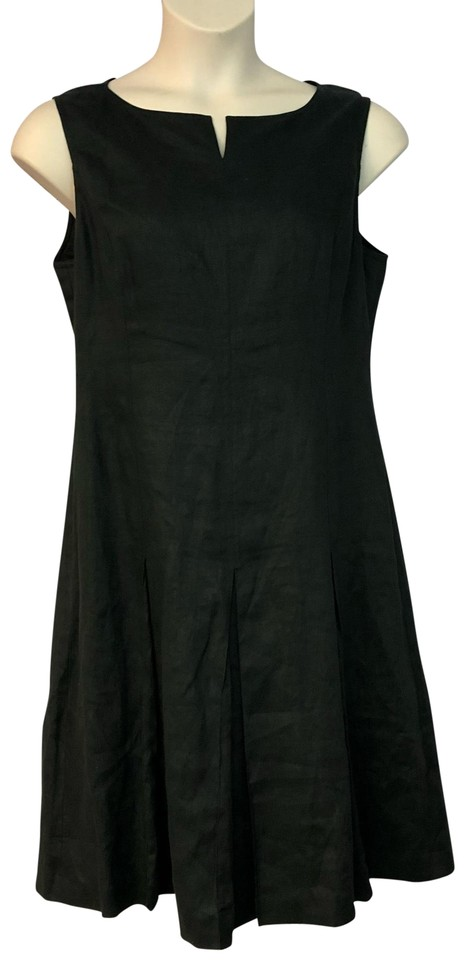 0a3ff0323b5a Ellen Tracy Black Linda Allard Linen Mid-length Short Casual Dress ...