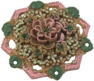 Vintage Vintage painted flower celluloid brooch pin