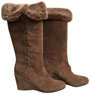Aquatalia Suede Platform Weatherproof Winter Faux Fur Brown Boots