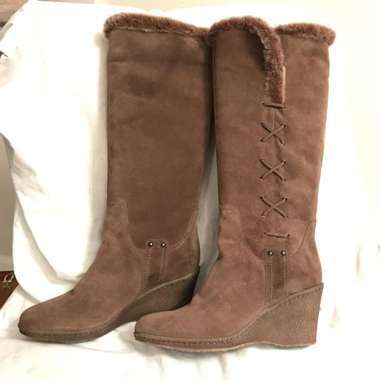 Aquatalia Suede Platform Weatherproof Winter Faux Fur Brown Boots Image 1