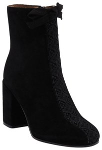 Bettye Muller Black Suede Embroidered Boots