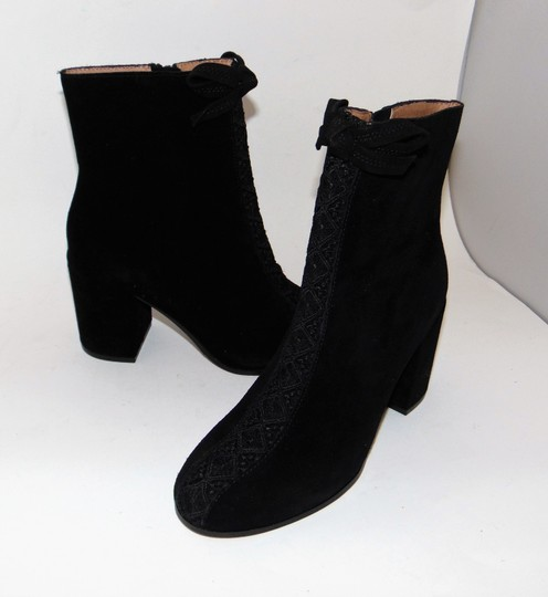 Bettye Muller Black Suede Embroidered Boots Image 3