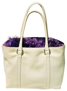 Falor Nubuck Leather Purple Fur Italian Handmade In Italy Shoulder Bag