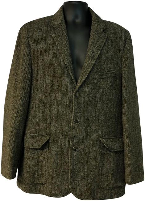 Item - Brown Yorkshire Tweed By Moon Wool Men's Jacket 44 R Blazer Size OS (one size)