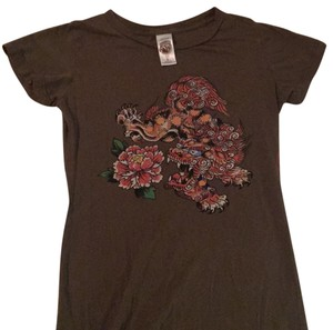 Ed Hardy T Shirt olive, oranges, red