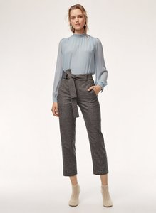 Aritzia Wool Cashmere Tie High Waisted Cropped Trouser Pants Brown Checkered