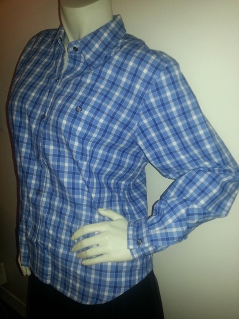 Liz Claiborne Checks Plaid Western Country Button Down Shirt blue and white