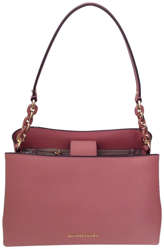 efc316b04607 Michael Kors Sofia Large East West Satchel Rose Leather Cross Body ...