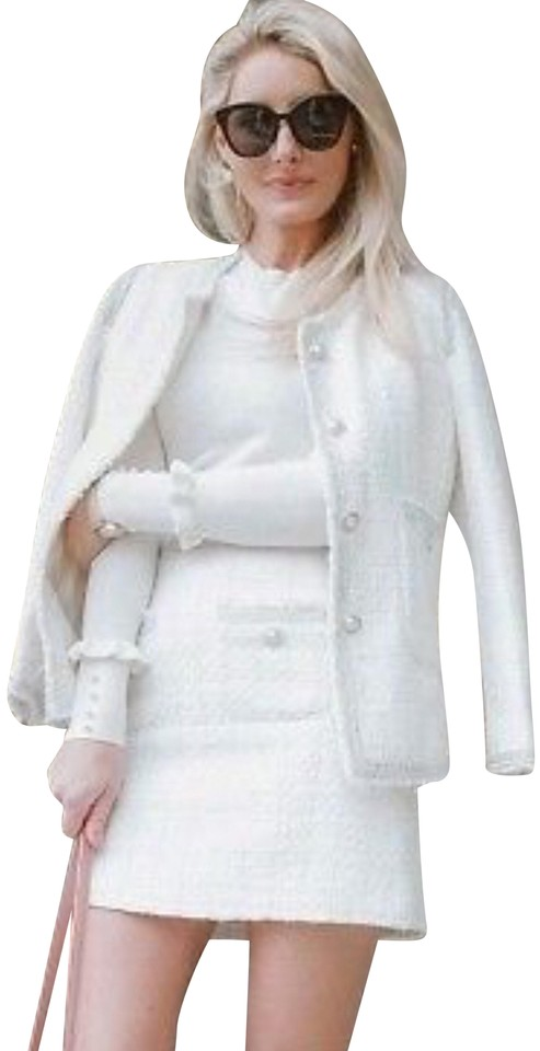 cda07e4b Zara White Silver Tweed Pearl Buttons Shimmery Trim Chanel Style ...