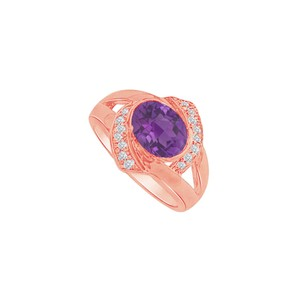 DesignByVeronica Oval Amethyst and CZ Split Shank Ring in 14K Rose Gold