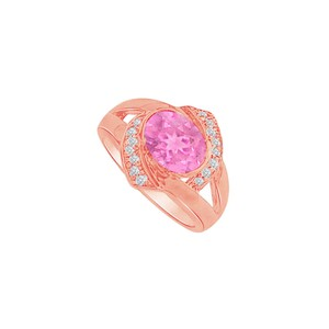 DesignByVeronica Oval Pink Sapphire CZ Split Shank Ring in 14K Rose Gold