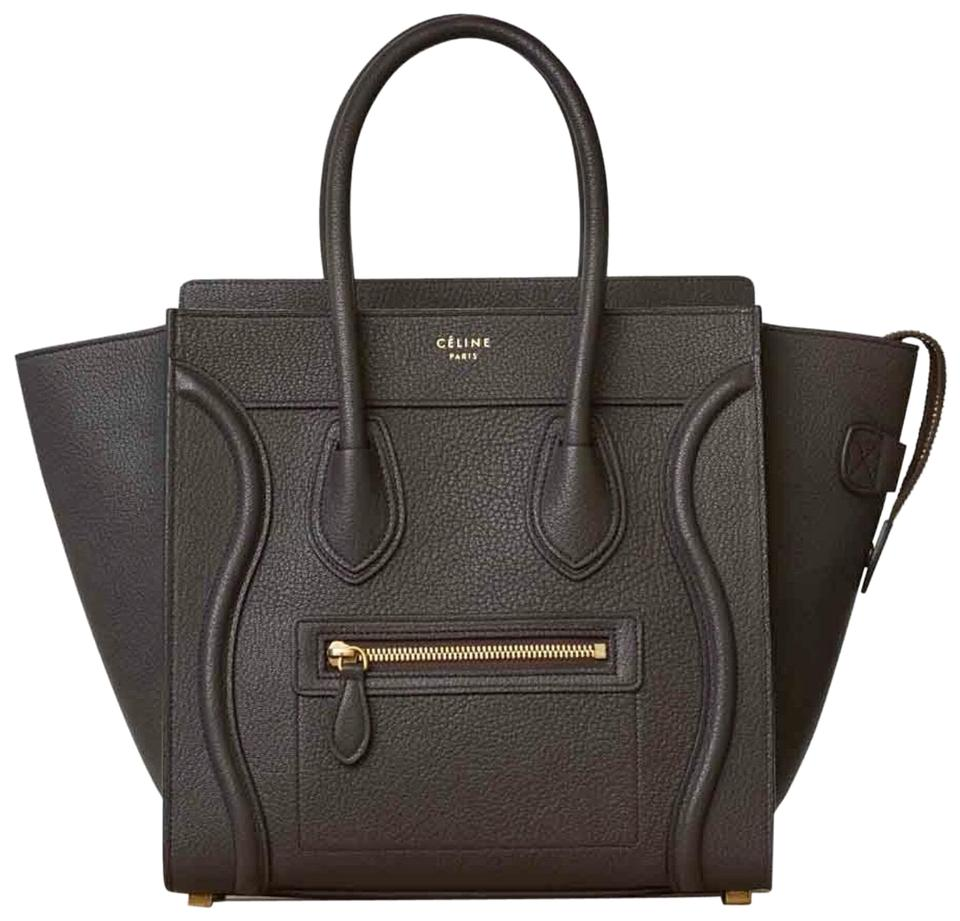 6e3e8098b7 Céline Luggage Micro Brown Dark Taupe Goat Skin Leather Tote - Tradesy