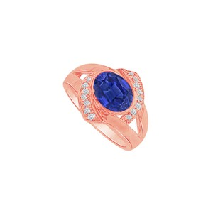DesignByVeronica Oval Sapphire and CZ Split Shank Ring in 14K Rose Gold
