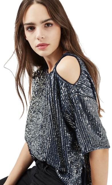 Item - Blue Slash Neck Knitted Long Sleeve Tank Top/Cami Size 6 (S)