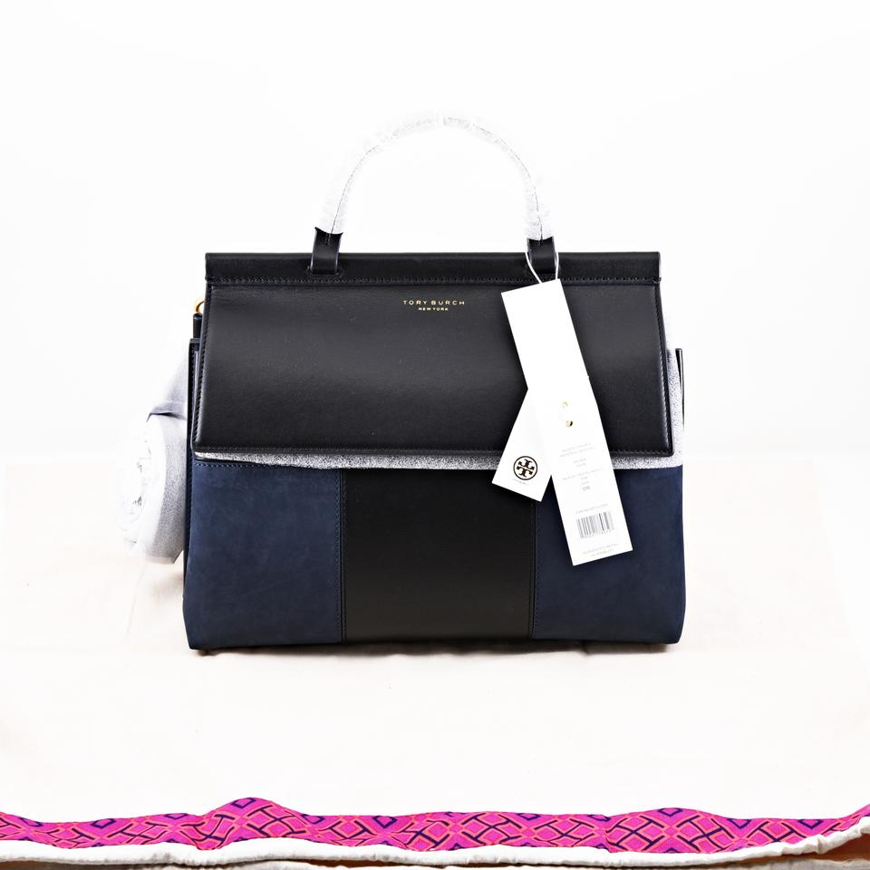 c212f0335ef Tory Burch Block-T T Mixed Material Black Navy Leather Suede Satchel ...
