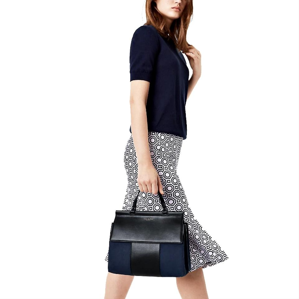 169a93bf538c Tory Burch Block-T T Mixed Material Black Navy Leather Suede Satchel ...