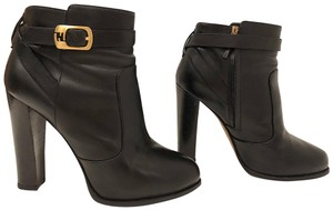 Fendi Monogram Gold Hardware Ankle Strap Black Boots