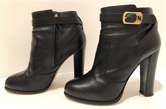 Fendi Monogram Gold Hardware Ankle Strap Black Boots Image 1
