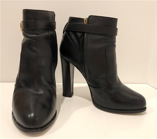 Fendi Monogram Gold Hardware Ankle Strap Black Boots Image 2