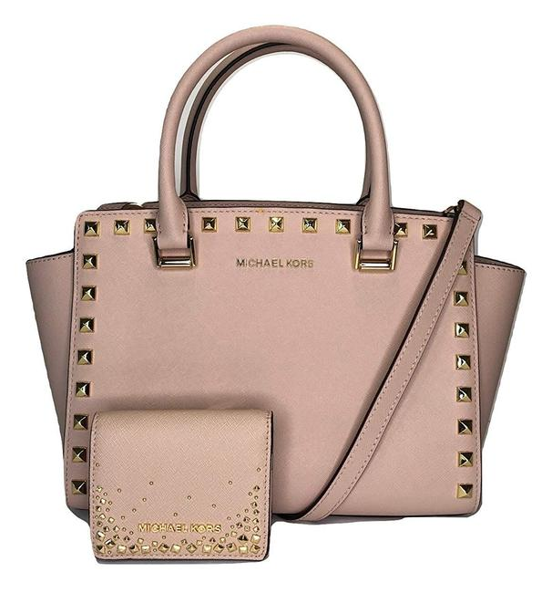 Michael Kors Selma Studded Md Top and Matching Studded Flap Ballet Leather Satchel Michael Kors Selma Studded Md Top and Matching Studded Flap Ballet Leather Satchel Image 1