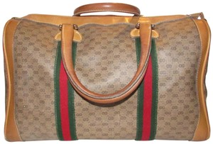 Gucci Excellent Vintage Rare Early Xl Boston Red/Green Satchel in dark brown small G logo print coated canvas and camel leather with two red and green striped accents