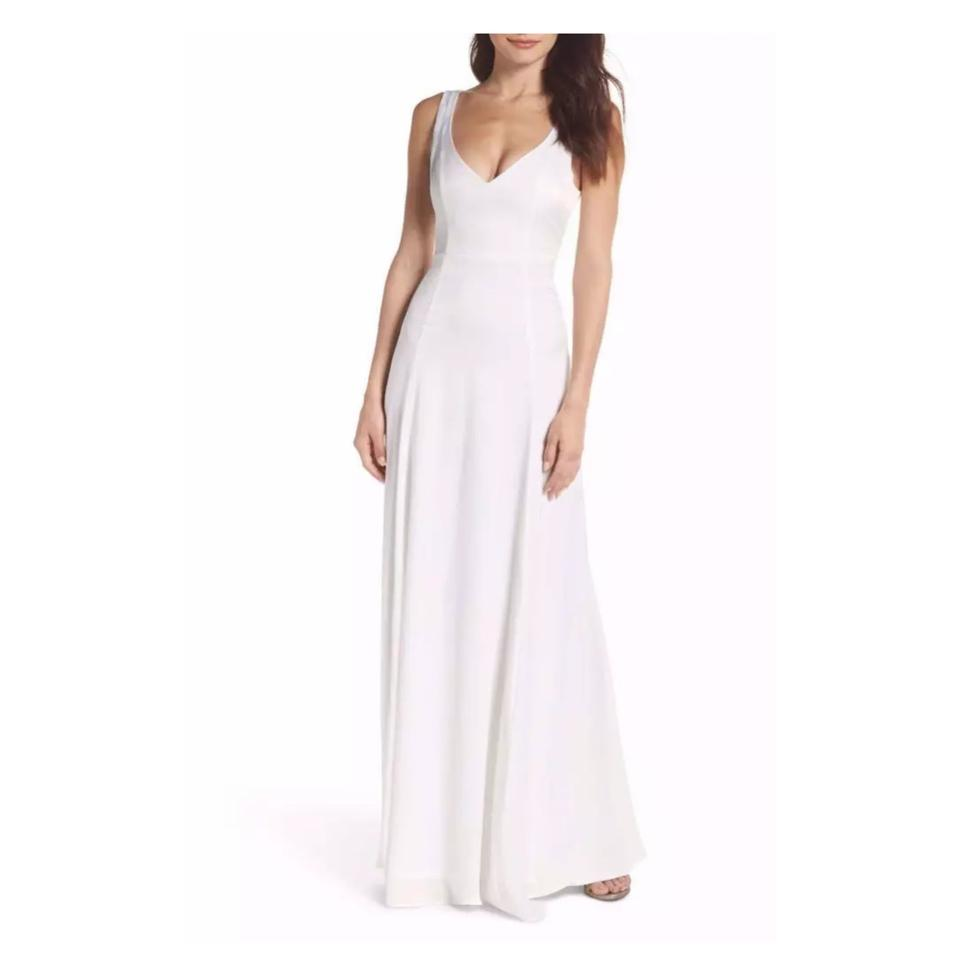 d575594f39f Show Me Your Mumu Ivory Sheen Polyester Jen Maxi Gown Feminine  Bridesmaid Mob Dress Size ...