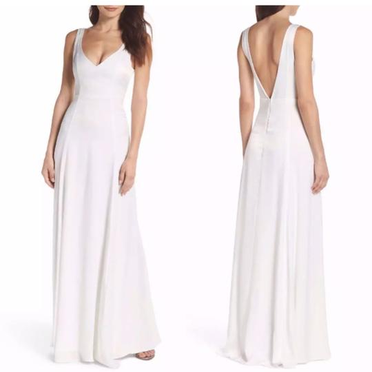 Show Me Your Mumu Ivory Sheen Polyester Jen Maxi Gown Feminine Bridesmaid/Mob Dress Size 4 (S) Image 2