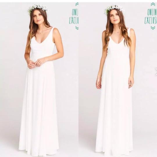 Show Me Your Mumu Ivory Sheen Polyester Jen Maxi Gown Feminine Bridesmaid/Mob Dress Size 4 (S) Image 3