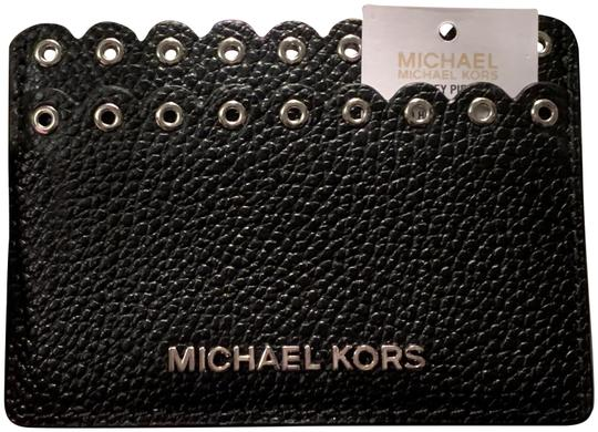 Preload https://img-static.tradesy.com/item/24493393/michael-kors-black-leather-with-silver-grommets-and-lettering-unisex-brand-new-card-holdermini-walle-0-1-540-540.jpg