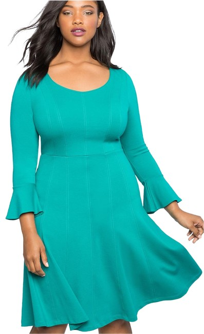 Teal Fit And Flare Seam Mid Length Work Office Dress Size