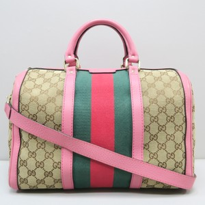 Gucci Boston Canvas Pink Satchel in brown